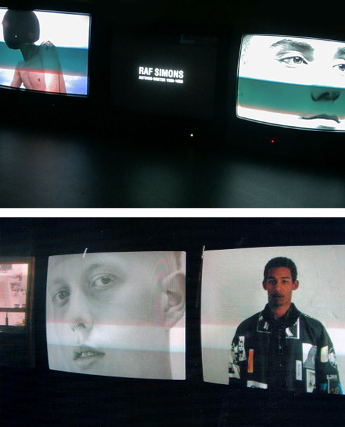 "spring1999:   ""repeat (1995-2005)"" by raf simons video-installation at fondazione pitti discovery foundation, florence  the video-installation ""repeat"" by raf simons shows an imaginary world through a series of silent videos. these screens simultaneously broadcast different sequences shot by peter de potter as elements of film editing, which reveal the complex personality of the designer and the magnetic vision he has relentlessly put forward: that of transition – adolescence to adulthood, a paradoxical wandering between rage and distraction, black and white, darkness and light.filmed by peter de potter and photographed by rainer sander (2010)"
