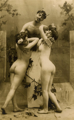 maudelynn:  The Satyr and the Nymphs  Turn of the Century Naughty postcard