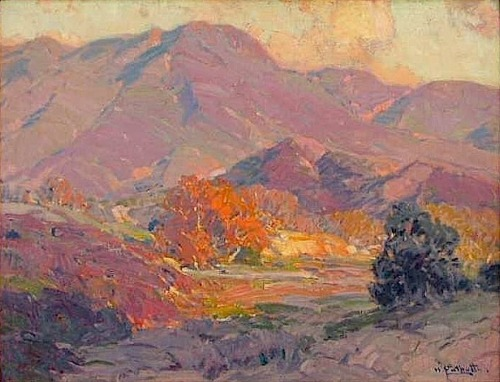 paintingbox:  Hanson Puthuff (1875-1972). Pink Flushed Heights, 1925. Oil on canvas, 18 x 24