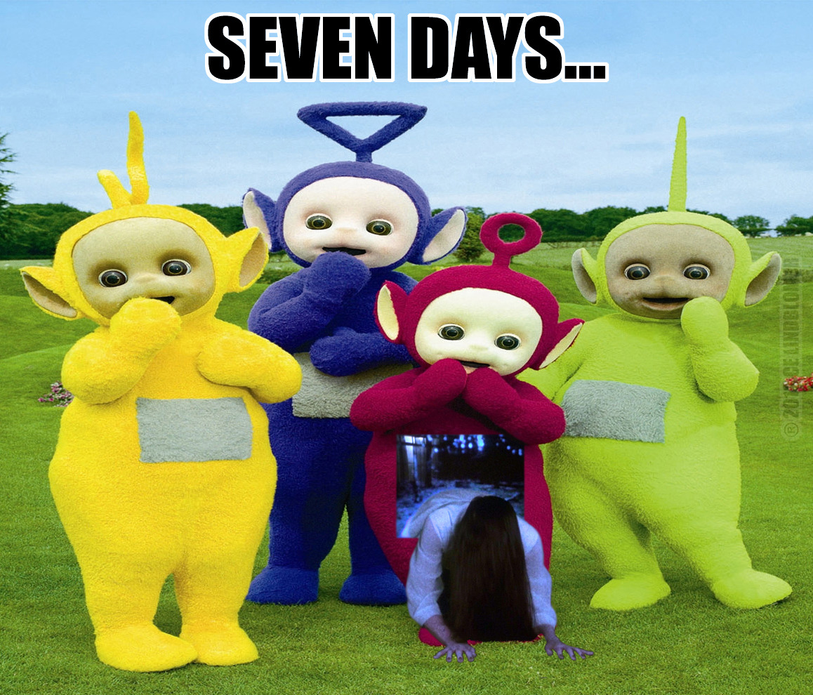 As if Teletubbies didn't scare you as it is, now that bitch Sadako is involved.