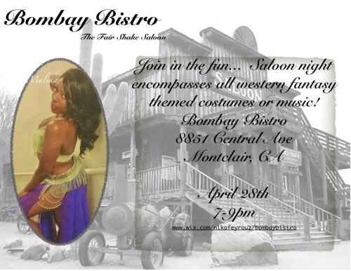 This Sunday April 28th 7-9 pm Bombay Bistro 8851 Central Ave Montclair, CA