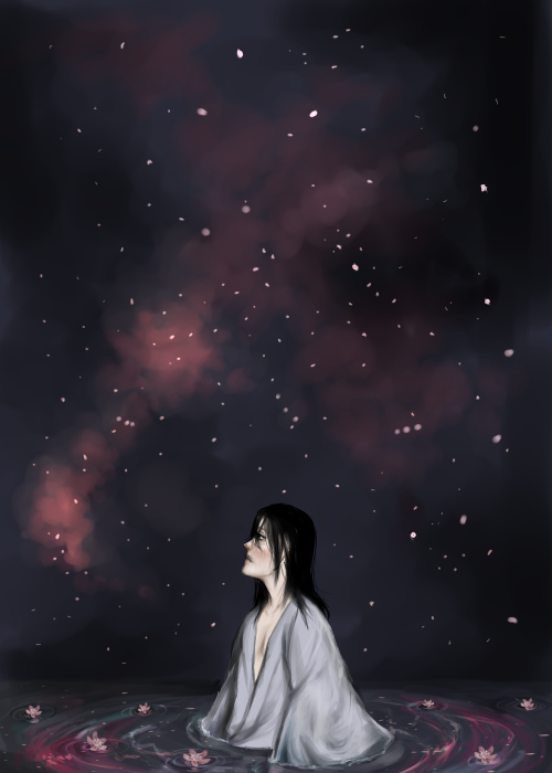 So, I ended up doing a legitimate piece for Byakuya's inner world. I really dont know but the 'petals' never stricked as petals (probably because there is only like one scene and thats only the manga where we actualy see PETALS and not just white specs) but more like stars, which is kinda funny since in his and Renji's battle hes reffered to as a moon. You feel me?