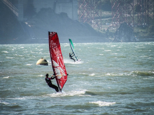 Wind surfing on the Bay