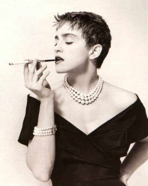 What's More Glamorous? #Madonna's Vintage Cigarette Holder, Fabulous Haircut or Pearls?