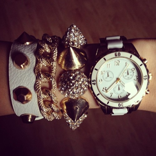 Today's Armcandy. #bracelets #gold #white #diamonds #stud #studs #studded #armcandy #armswag #pretty #cute