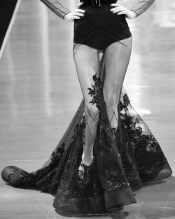 Black and White fashion dress lace Model edited high fashion catwalk