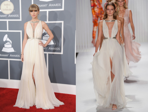 Taylor Swift in J. Mendel at the Grammy Awards  Taylor Swift wore a white Grecian-inspired gown from J. Mendel's Spring 2013 collection on the Grammy red carpet. I think she looks gorgeous in white gowns, and I love that she kept her hair pulled back.