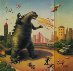 fuckyeahmarkryden:  Godzilla, by Mark Ryden (from Entertainment Weekly, issue 354). (Thanks to Wolfgang for sharing this).