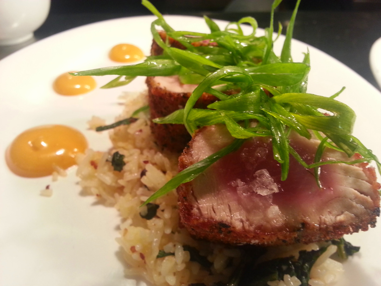 Nori crusted tuna, fried rice with Chinese broccoli