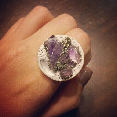 Amethyst and Pyrite ring I had to at least take a photo of since it didn't fit.