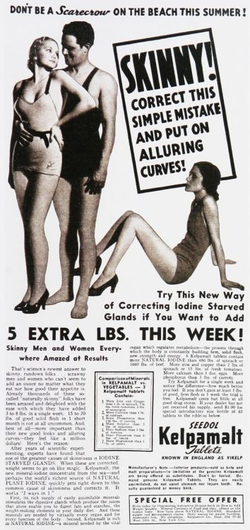 weirdvintage:  Kelpamalt weight gain tablets, 1930s (via Vintage Ad Browser)