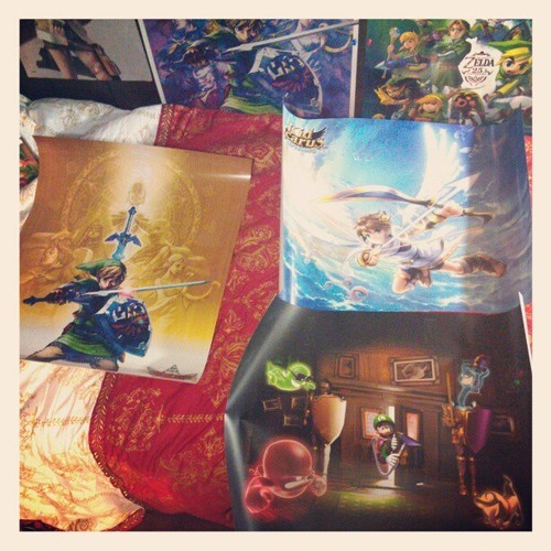 My new posters from Club Nintendo came to work today. Man these are beautiful. #nintendo #clubnintendo #thelegendofzelda #kidicarus #LugiMansion #posters #gaming #videogames