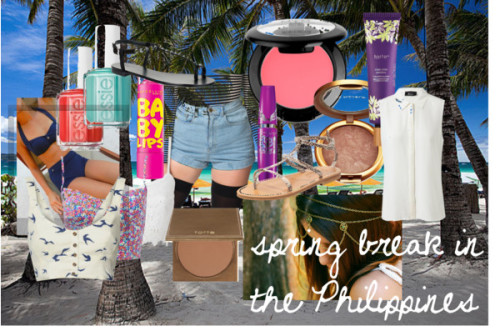 Spring Break in the Philippines by rhegille featuring woven shirtsSleeveless silk blouse, $275 / Forever New bustier top, $26 / Blonde + Blonde woven shirt, $13 / Swimsuit bikini / American Apparel  / Alice In The Eve lace camisole, $21 / Giuseppe Zanotti flats sandals / K. Jacques flat shoes / Crystal charm / Tarte  / Tarte  / Victoria's Secret bronzing powder / Cream blush / Maybelline  mascara / Essie  nailpolish, $24 / Essie  nail polish, $16 / Maybelline Baby Lips Bundle in save offer