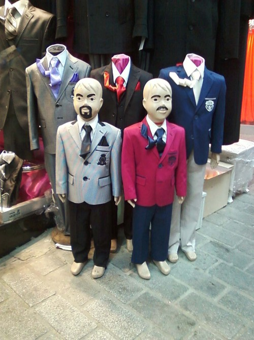 Store mannequins in the street market of the Old City in Istanbul.
