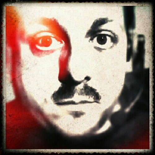 Self-portrait. #portrait #selfportrait #pixlromatic #noninstagramfilters #twotone #blackandred