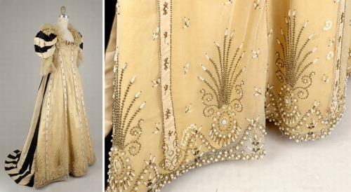 fripperiesandfobs:  Worth court dress ca. 1890's From Doyle New York