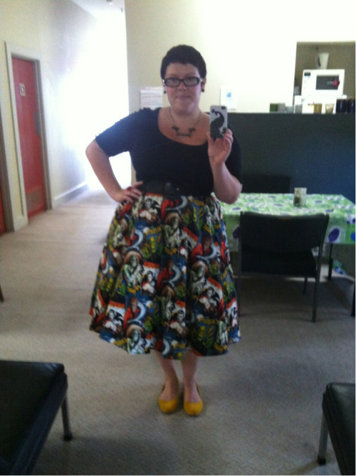 What I'm wearing today.  skirt - Rockabetty, top - Dorothy Perkins, petticoat - Hell Bunny, shoes - Rubi, belt - from City Chic jacket, necklace - Pinup Girl Clothing, earrings - diva