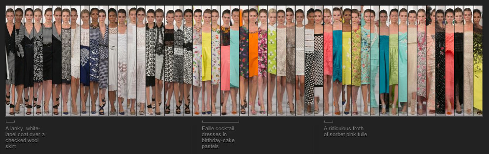 """vasta:   The New York Times created """"fashion fingerprints"""" for every collection seen at New York Fashion Week, and I can't stop looking at them. Fascinating if you love fashion, design, or just really neat things on the web.   i know nothing about fashion but i know what is beautiful.  neat cataloguing."""