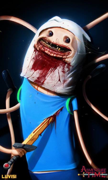 savethewailes:  Nightmare Finn - Adventure Time - by `DanLuVisiArt  Welp, now that I've seen this, all you have to see it as well. Misery loves company~