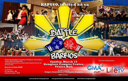 rhythmaddicttv:  RAPS Presents: Battle of the Barrios XII Battle of the Barrios is back for its 12th installment cosponsored by GMA Pinoy TV! ~Event Overview Battle of the Barrios is a competition where schools from all over District Three come and show off their creativity in a skit that includes a modern and cultural dance portion. ~Judges This year, we have invited a wonderful judging panel! The judges are: Kilusan Bautista Myron Merced Merz Lim More to Come! ~Ticket Information Tickets will be $8 Presale and $10 at the Door. Presale money is due March 6. Anyone who has not paid by then must pay full price at the door. Your name will not be saved on any presale list. Opportunities to pay for tickets are available at the D3 General Body Meeting on February 15, as well as any RAPS General Body Meeting held every Wednesday at 9 PM in BCC-174. We encourage everyone to buy their tickets in advance because there is a limited capacity, and tickets are likely to sell out. ~Parking Information Parking for the event is available in Lots 70, 79, 79A, and the Douglass Deck. Please ensure that you park in one of these designated lots. A link to the campus map can be found at http://parktran.rutgers.edu/PDF/0250%20Campus%20Map0725.pdf ~Participating Schools The tentative list of schools performing is as follows: -FSA - New Jersey Institute of Technology -IFA - New York University -PARE - St. John's University -POH - Hunter College -PUSO - Stony Brook University -RAPS - Rutgers University, New Brunswick  Hey guys, we've been keeping pretty top secret about it but you'll be seeing us at this year's Battle of the Barrios! If you're still on campus and wanna get presale, E-Board is gonna be taking pre-sale between today and tomorrow.