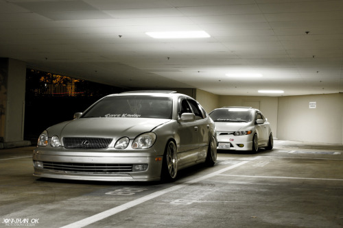 supercute-crew:  We out here. Justin's GS300 & Savovo's 8th gen. Photo by: Jonathan Ok http://www.facebook.com/supercutecrew  GO FOLLOW MY CREW!
