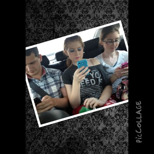Us three lol #phones #cantlivewithout #brother #and #his #gf