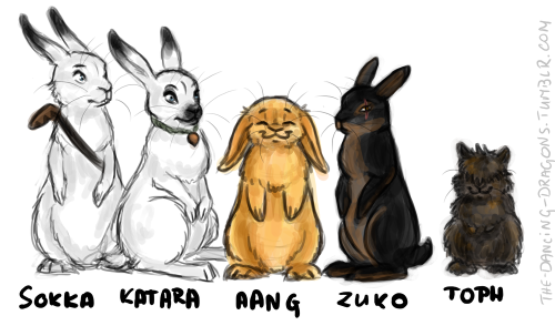 the-dancing-dragons:  THE LAST EARBENDER Sokka&Katara as arctic hares, Aang as mini lop, Zuko as rex, Toph as lionhead. I regret nothing.