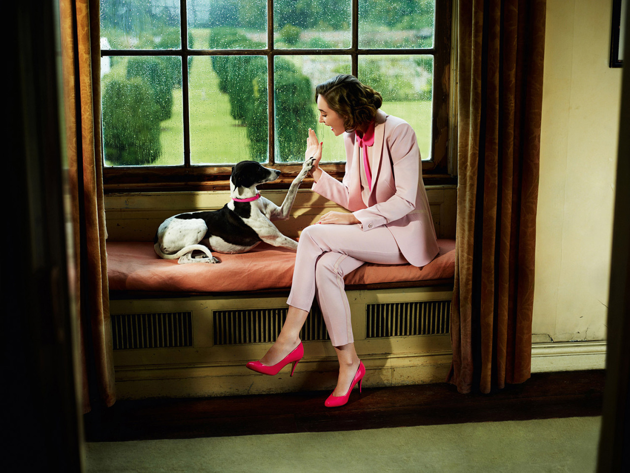 luckymag:   We're kind of obsessed with Ted Baker's spring 2013 collection. And that dog.