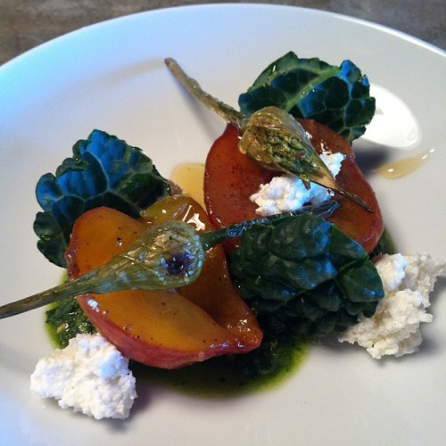 Peach salad, quark, garlic scape pesto, roasted garlic scapes. One of the specials tonight.