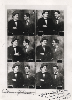 Series of photo booth images of Guillaume Apollinaire and André Rouveyre Via angeheurtebise