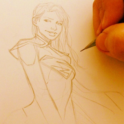 herochan:  Sketch Sunday: Supergirl Created by Marcio Takara