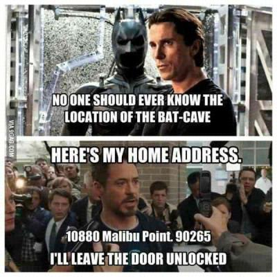 gozdeh20:  One reason why Tony Stark is better than Bruce Wayne. / 9GAG
