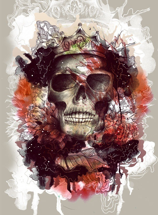 I really like the vibrant colors surrounding the skulls on these illustrations.