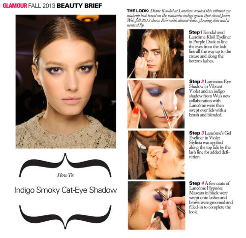 glamour:  Jason Wu's fall 2013 indigo smoky cat-eye shadow in 4 easy steps
