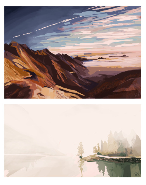 Landscape studies for the day ref'd by various photos.