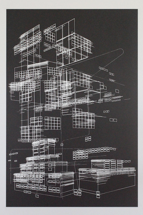 """Line objects 1"" benkafton Screen printed with white ink on 80# french black speckletone stock paper. 24 x 36 inches (61 x 92 centimeters)."