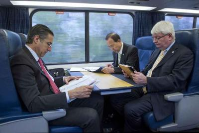 united-nations:  Secretary-General Ban Ki-moon traveled by train to Washington, DC, on Thursday to take part in World Bank meetings on education, poverty reduction and more.Tune in on Friday between 11:00 a.m.-12:10 p.m. EDT (15:00-16:10 GMT) when he and World Bank President Jim Kim hold an interactive online conversation on ending poverty.Details: http://bit.ly/ittakes419Photo: Ban Ki-moon is seen here with UN Peacekeeping chief Hervé Ladsous and Oscar Fernandez-Taranco from the UN's Department of Political Affairs.  My field research leads me to interesting new places, and one of those places in November was the World Bank. After interviewing a handful of anonymous staff and affiliated NGOs, I learned there is a real [something] brewing around Dr Kim's leadership. It appears many people are/were anxiously awaiting more details on his shifting the Bank's focus to poverty alleviation. Without giving away too many spoilers, one of my research findings is that you are successful as the head of a global organisation IF you are able to make your agenda the global agenda. See? See how Dr Kim is developing that here? I must say, this is probably good news for Ban. With the Millennium Development Goals (MDGs) reaching their end-goal period in 2015, Ban (if reappointed as Secretary-General) will need to redefine the goals of the UN since former Secretary-General Kofi Annan introduced the MDGs as the world's new agenda.  And poverty reduction/alleviation sounds good to me! If you can get it in a dual package between the UN and the World Bank, you're that much more likely to be seen as a effective executive head. Well done, Dr Kim.