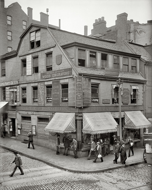 "jchandler1958:    Boston, Massachusetts, circa 1900. ""Old Corner Bookstore, first brick building in Boston."" Detroit Publishing Company 8x10 glass negative. At the corner of School and Washington Streets at Downtown Crossing. Formerly the Boston Globe Olde Corner Bookstore. The hand in the upper right-hand corner of the"