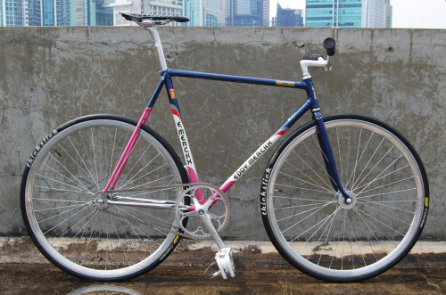 rideyourbike:  lakolle:  Eddy merckx lo pro! The frame is great, but another wheelset and click pedals and it would be a awesome bike!  click pedals