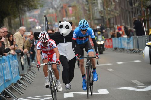 Liege-Bastogne-Liege 2013 Left to right: Joaquim Rodriguez, A Panda, Dan Martin.  (via Cyclingnews)