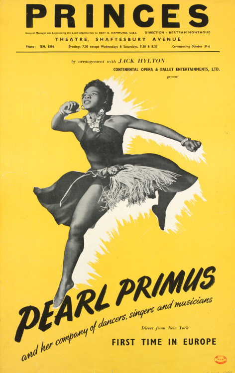 classicladiesofcolor:  Poster advertising Pearl Primus and her company's appearance at the Shaftesbury Avenue Theatre in London, 1951.