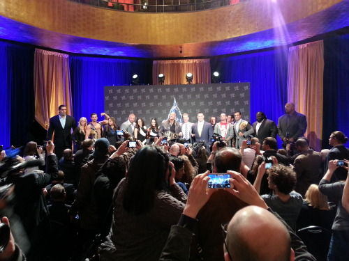 The WrestleMania press conference photo op of glory.