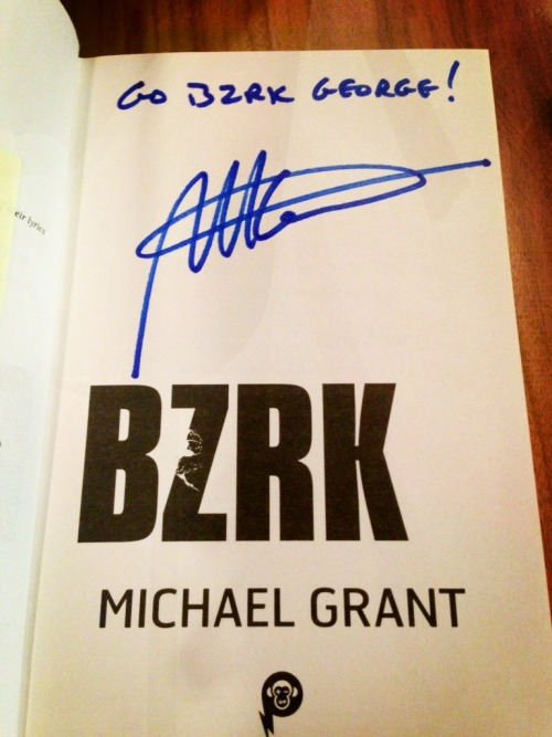 Got my signed copy of Michael Grant's BZRK at Waterstones Piccadilly last nigh kindly accompanied by the Boyf!!!  He gave a marvellous talk on his work and his process and whatnot. Was very interesting.  When it finally came to the actual signing I got to nervous to make words and stuff so definitely ended up looking like a bit of a twat!   Oh well! :)  G Xx