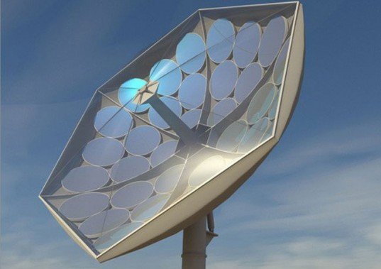 IBM Solar Collector Harnesses the Power of 2,000 Suns | Inhabitat - Sustainable Design Innovation, Eco Architecture, Green Building  A team of IBM researchers is working on a solar concentrating dish that will be able to collect 80% of incoming sunlight and convert it to useful energy. The High Concentration Photovoltaic Thermal system will be able to concentrate the power of 2,000 suns while delivering fresh water and cool air wherever it is built. As an added bonus, IBM states that the system would be just one third the cost third of current comparable technologies. Based on information by Greenpeace International and the European Electricity Association, IBM claims that it would require only two percent of the Sahara's total area to supply the world's energy needs. The HCPVT system is designed around a huge parabolic dish covered in mirror facets. The dish is supported and controlled by a tracking system that moves along with the sun. Sun rays reflect off of the mirror into receivers containing triple junction photovoltaic chips, each able to convert 200-250 watts over eight hours. Combined hundred of the chips provide 25 kilowatts of electricity. The entire dish is cooled with liquids that are 10 times more effective than passive air methods, keeping the HCPVT safe to operate at a concentration of 2,000 times on average, and up to 5,000 times the power of the sun. The direct cooling technique is inspired by the branched blood supply system of the human body and has already been used to cool high performance computers like the Aquasar. The system will also be able to create fresh water by passing 90 degree Celsius liquid through a distillation system that vaporizes and desalinates up to 40 liters each day while still generating electricity. It will also be able to amazingly offer air conditioning by a thermal drive absorption chiller that converts heat through silica gel. Replacing expensive steel and glass with concrete and pressurized foils, the HCPVT is less costly than many other similar installations. Its high tech coolers and molds can be manufactured in Switzerland, and construction provided by individual companies on-site. Through their design, IBM believes they can maintain a cost of less than 10cents per kilowatt hour.