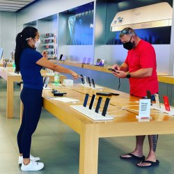 Socially distance sales at the Ala Moana Apple Store