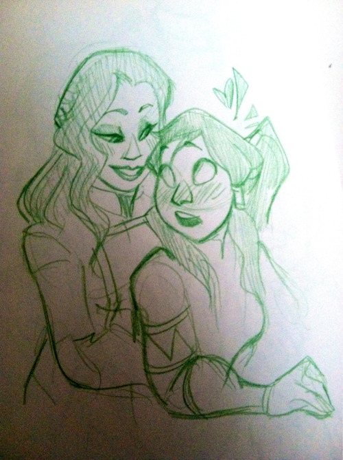 masterarrowhead:  hello korrasami tag i am procrastinating on writing a paper for color theory here's a sketch