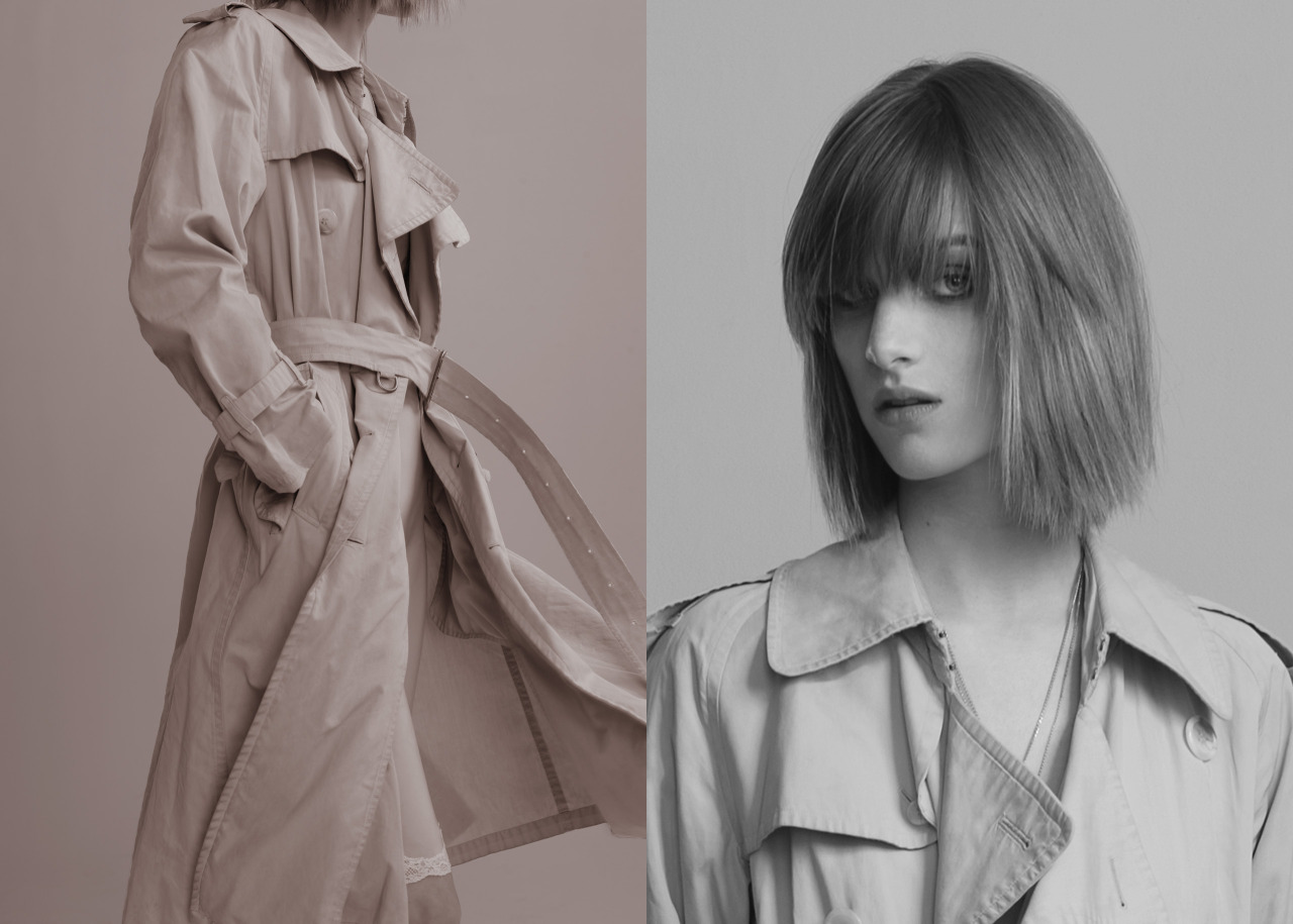 "1 GIRL, 1 TRENCH, 7 LOOKS In her new series, Carine puts a twist on wardrobe essentials. Here, seven different ways to wear a classic trench coat with different makeup tricks. [[MORE]]  Photography Max von Gumppenberg and Patrick Bienert Editor Carine Roitfeld  Makeup Frankie Boyd using M.A.C Cosmetics Hair Jordan M for Bumble & Bumble Manicure Tracylee Above: As a classic… Ashleigh Good wears Trench Vintage Burberry (throughout) Slip OlatzAround the waist like a cardigan… T-shirt Vince Pants T by Alexander Wang  Scarf Charvet ""Coffee eye pencil was used to sculpt the eye, followed by Taupe blush to contour the eye and cheekbones. Illuminate the eyes with Extra Dimension eye shadow in Extra Silver. Photo lipstick was used on the lips for a perfect 90s pout."" –Frankie BoydAs a twin set…  Trench Burberry ""Highlight and blush the skin effortlessly with new PearlMatte Face Powder. Protect your skin with Mineralize Moisture SPF15 Foundation.""   As a dress under a perfecto… Jacket Balenciaga Leggings Jean Colonna ""Lived in grunge liner perfected with Penultimate Eye Liner and False Lashes Mascara.""    As a hood… Dress, cape, and shoes Rick Owens   ""Smolder Eye Kohl was used to define the eyes with Luxe Naturale Mineralize Rich Lipstick on the lips.""   As a ballerina… Bodysuit Givenchy by Riccardo Tisci Scarf Balenciaga ""White Paint Stick was playfully applied to the eyes with a generous amount of Extended Play GigaBlack Lash.""  As a cape on a wedding dress…  Dress Dolce & Gabbana Veil Jennifer Behr Flowers M & S Schmalberg  ""Pro Longwear Paint Pot in Dangerous Cuvee worn on the eyes with a delicate lip in Baking Beauty Mineralize Tinted Lip Balm."""