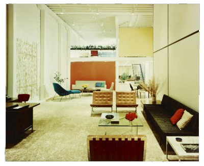 I love the colors of the Knoll showroom - but then, one would expect an interior design firm to have well-appointed offices. Knoll showroom, San Francisco, 1954 / unidentified photographer. Florence Knoll Bassett papers, Archives of American Art, Smithsonian Institution.