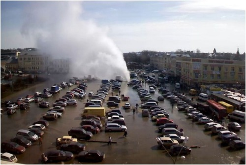 Video of a water main break in Russia. The explosion sends asphalt into the air to rain down on parked cars and pedestrians. Aging infrastructure and deferred maintenance are the bane of cities around the world - especially America. The American Society of Civil Engineers gave the United State's bridges, dams, airports, drinking water, roads, and schools a D+ in a recent report. Embarrassing? Absolutely. But cities are struggling to deal with an aging population and a lowered tax base. Schools, libraries, and park services are being cut (and gutted) all around the country. This means that cities are less likely to invest or fix problems with infrastructure, such as water supply. They can only react and look to the Feds for emergency cash. This mess we're in will harm citizens in the long-term.
