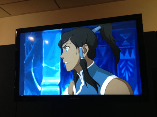 bryankonietzko:  Korra, upset with someone off-screen, yet pleased with her new Book 2 shirt.